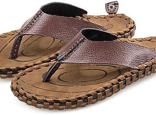 Ntx Chaussures pour homme extérieur athlétique décontracté Cuir Chaussons Marron