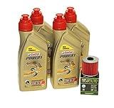 Juego de cambio de aceite Castrol SAE 20W-50 Act evo 4T mineral, incluye filtro de aceite Hiflo HF123 por ejemplo Kawasaki Z 200, KL 250, KEF 300, KLX 650