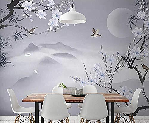 Papel pintado Gris claro Flores y pájaros Ilustración Estilo chino simple...