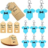 20 Pack Baby Shower Return Gifts for Guests, Blue Jumpsuits Keychains + Thank You Kraft Tags for Elephant Theme Party Favors, Baby Shower Favors for Boy, Birthday Party Supplies