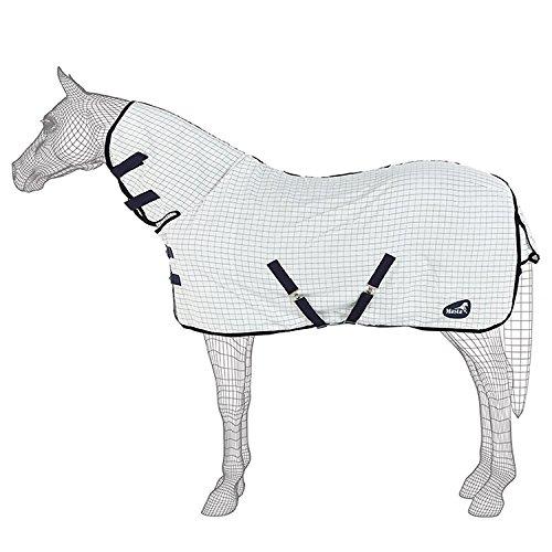 Masta SS18 Sommer Pferdedecke mit fixem Hals (150cm) (Weiß Karo)