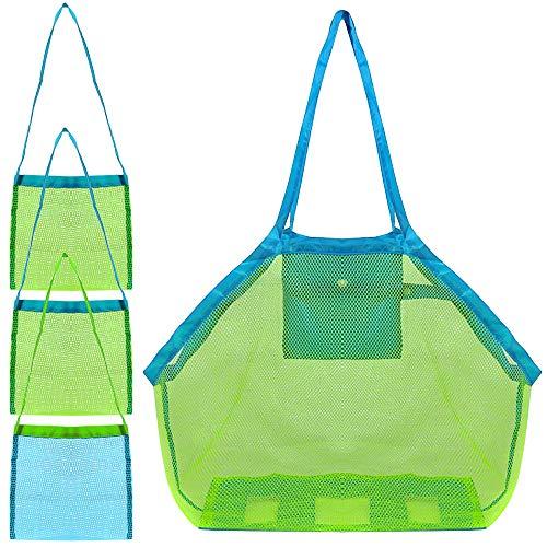4 Satz Strand-Ineinander greifen-Einkaufstasche, FineGood Sand Spielzeug Shell Wiederverwendbare Faltbare Leichte Aufbewahrungstasche für Kinder Frauen Männer - Grün