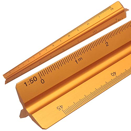 JJQHYC Regla De Escalas Triangular De Aluminio con 6 escalas 1:20, 1:25, 1:50, 1 :75, 1:100, 1:150 para dibujos arquitectónicos, medición