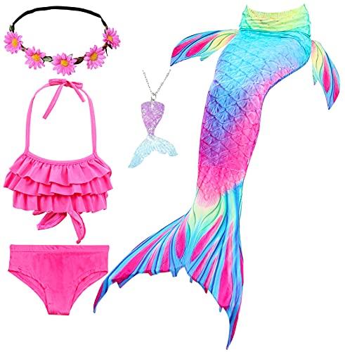 Le SSara Conjunto de 5 Piezas Colas de Sirena para Nadar Traje de Baño para Niñas Princesa Bikini 3-12 años (Sin Monofin) (DH52+WJF48(PPur), 5-6 Años)