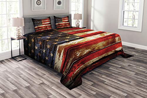 Ambesonne American Flag Bedspread, Us Over Old Rusty Tones Weathered Vintage Social Plank Artwork, Decorative Quilted 3 Piece Coverlet Set with 2 Pillow Shams, Queen Size, Red Beige