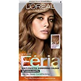 L'Oreal Paris Feria Multi-Faceted Shimmering Permanent Hair Color, 63 Sparkling Amber (Light Golden Brown), Pack of 1, Hair Dye