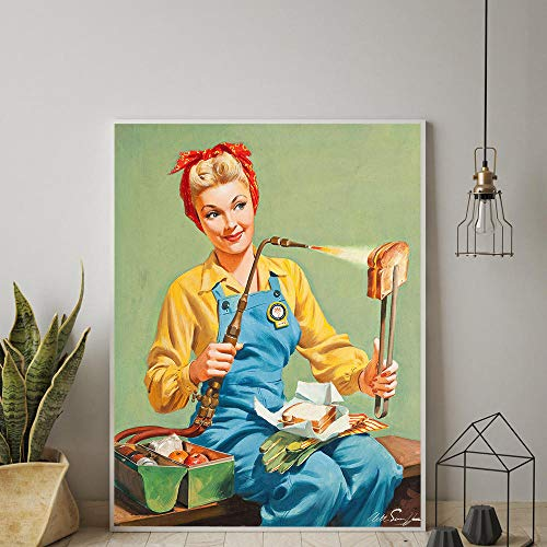 Vintage Cheese Sandwich Toast Poster Pop Art Woman Kitchen Pin Up Girl Sign Retro Wall Art Canvas Painting Restaurant Pictures -20x28 Pulgadas sin Marco