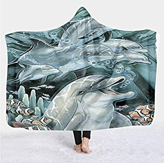 Cosmos Cute Dolphin Colour Blanket Manta Con Capucha 3D Full Print Wearable Blanket Adult Hombre Mujer Manta Niño 130 (H) 150 (L)