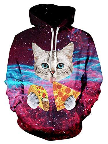 ALISISTER 3D Pullover Hoodies Männer Jungen Coole Pizza Katzen Bedruckt Kapuzenpullover Sweatshirt Herbst Winter Beiläufig Langarm Kapuzenpulli mit Fleece-Futter M