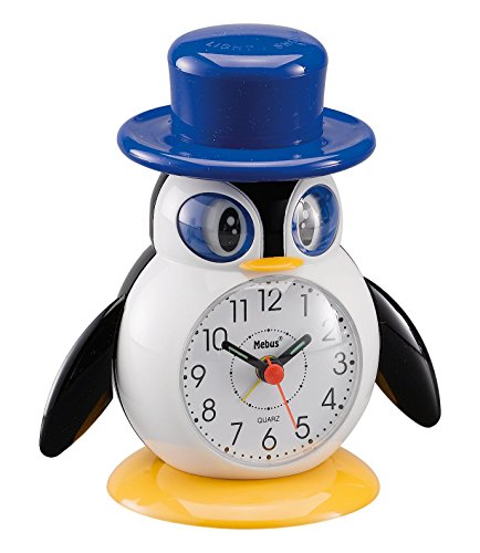 Mebus Unisex Wecker Analog Quarzwecker Pinguin Kunststoff weiß 26514