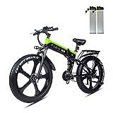 Bicicleta Electrica Plegable 26 Pulgadas 1000W 48V batería Dual MTB E-Bike Adulto Hombre Mujer (Negro Verde)