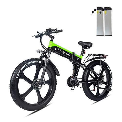ride66 e Bike Mountainbike elektrofahrrad klapprad 26 Zoll Doppelbatterie 1000W ebike für Damen Herren (Schwarz-Grün)