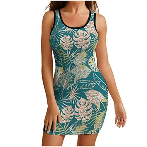 Cutenono Vestido de verano tropical para mujer, con diseño de hojas, sin mangas, cuello redondo, informal, para el tiempo libre, para la playa, Blanco, XXL