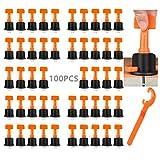DQTYE - Juego de 100 niveladores de azulejos con llave especial de nivelación de baldosas para edificios de paredes, suelos, herramientas de construcción reutilizables