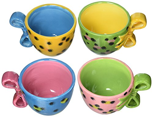 Sugar High Social Set of 4 Teacups, 3-Inch, Four Separate Colors