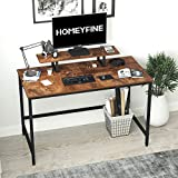 HOMEYFINE Computer Desk,Laptop Table with Storage for Controller,47 Inches,Wood and Metal,Study Table for Home Office(Vintage Oak Finish)
