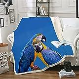 NBVGHJ Colorful Parrot Brid Blanket Manta de impresión 3D en la Cama Niños Niña Flor Textiles para el hogar Estilo 230×200CM