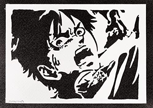 Póster Ataque a los Titanes Eren Jaeger Grafiti Hecho a Mano Shingeki No Kyojin - Handmade Street Art - Artwork