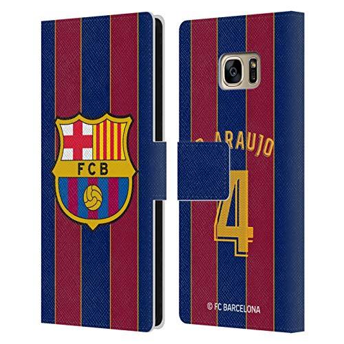Head Case Designs Licenciado Oficialmente FC Barcelona Ronald Araújo 2020/21 Players Home Kit Group 2 Carcasa de Cuero Tipo Libro Compatible con Samsung Galaxy S7 Edge
