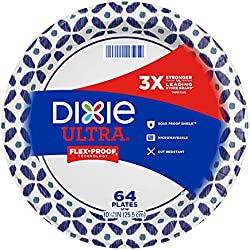 Dixie Ultra Disposable Paper Plates, 10 1/16 inch, Dinner Size Printed Disposable Plate, 64 Count (1