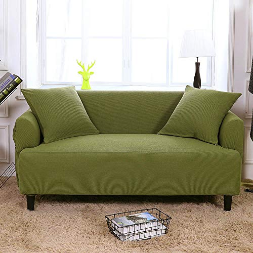 HXTSWGS Funda para sofá de Tela elástica,Funda elástica para sofá, Funda para sofá de Sala de Estar, Funda para Muebles elástica-Marrón Verde_145-185cm