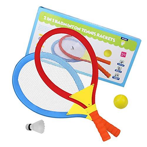 Akokie Tennisschläger Kinder Federball Set Badminton Racket Set Spielzeug Draussen Kleine Geschenke für Kinder Spielzeug für Kinder ab 3 4 5 6 Jahren