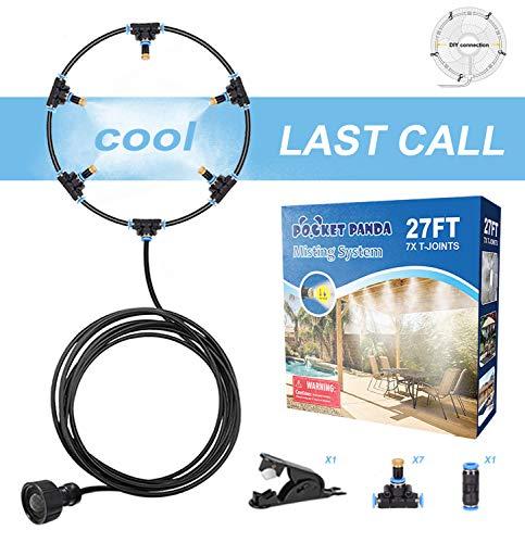 Outdoor Misting Fan Kit 27FT, Mister Fan for Outside Patio, Cool Mist Fan Outdoor, Water Misting Fan for Cooling Outdoor, Backyard Misters for Fan, Misting Hose, Water Mister for Cooling Outdoor Patio