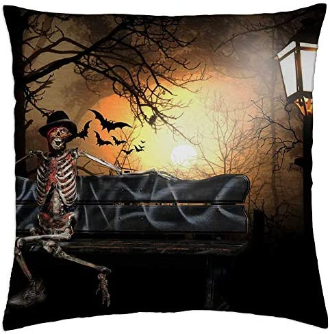Lesgaulest Throw Pillow Cover 16x16 Inch Surreal Helloween Skeleton Bat Creepy Halloween Home Kitchen