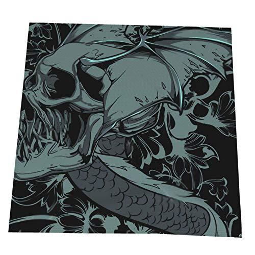 COOL-SHOW Servilletas de tela reutilizables con diseño de calavera de dragones para restaurante, boda, hogar, mesa, servilletas, banquetes, juego de 4 servilletas de tela suave de 20 x 50,8 cm