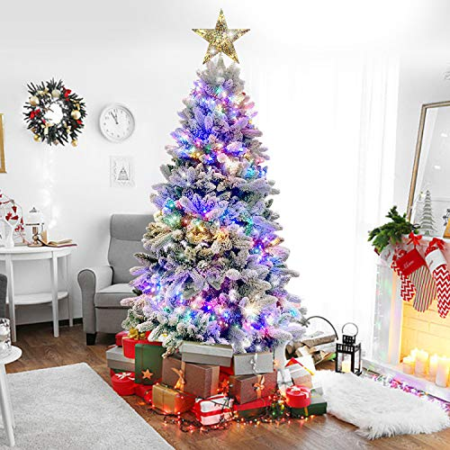 Auhavor 6.5ft Artificial Christmas Tree w/ 8 Modes 400 Multicolored LED Lights Flocked Snowy Christmas Tree Includes 1000 Branch Tips, Pine Cones and Toppers for Home Office Holidays Decoration