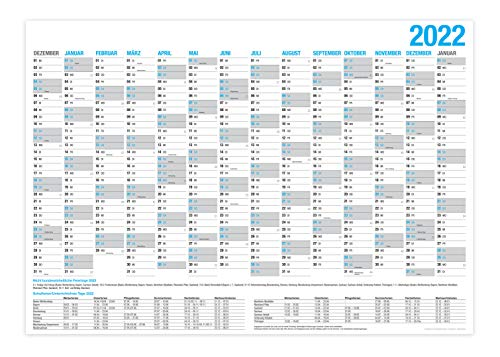 XXL Wandkalender 2022 / Kalender Jahresplaner - 14 Monate Jahreskalender + Gratis Urlaubsplaner 2022 (86 x 59 cm)
