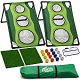 Exciting Cornhole Golf Game Set – Keep Score, practice chipping or simply have fun with this custom cornhole set that lets you battle friends and play golf games in a cornhole style setting but with the skill only a golfer brings to the game. Bright,...