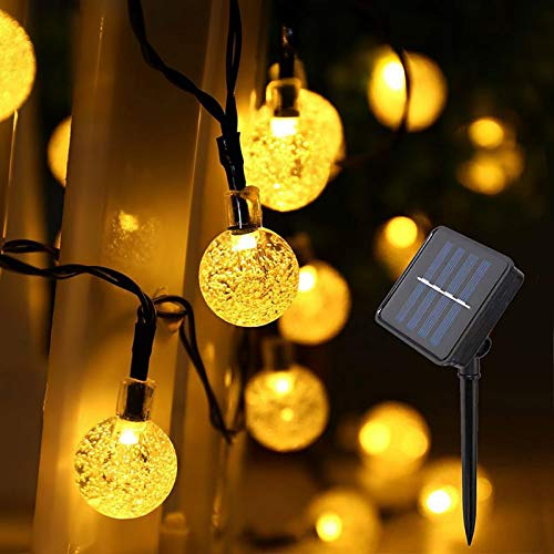 IMOZEN Upgrade Outdoor Solar String Lights, 8 Modes 39ft 100LED Waterproof Crystal Ball Starry String Lights Garden Solar Lights for Patio Yard Home Party Wedding Decoration(Warm White)