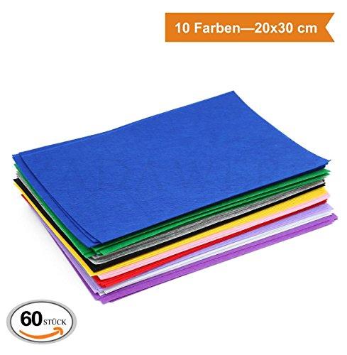 ZADAWERK® Filzmatten zum Basteln und Nähen- 1 mm, dünn - 20 x 30 cm - 10 Farben - 60 Stück