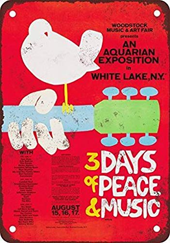 mefoll Vintage Signs 12x16 Woodstock Wall Decor Art