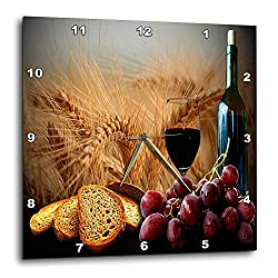 TattyaKoushi 15 by 15-inch Wooden Wall Clock, Wine Bread Grapes Square Wall Clock, Living Room Clock, Home Decor Clock