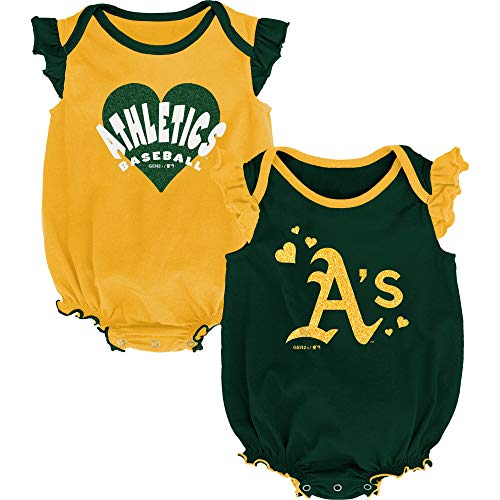 Outerstuff MLB Newborn & Infants Girls Double Trouble Creeper, Bib, Bootie Set (3/6 Months, Oakland Athletics)