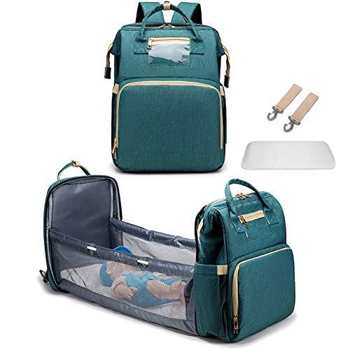 WAQIA TeeBetter Travel Bassinet Foldable Baby Bed Portable Folding Crib Diaper Bag Multifunctional Large Capacity Folding Crib Backpack Mummy Bag Changing Station with Mattress (Green)