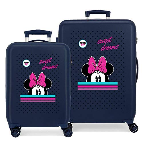 Disney Sweet Dreams Minnie Kofferset Blau 55/68 cms Hartschalen ABS Kombinationsschloss 104L 4 Doppelräder Handgepäck