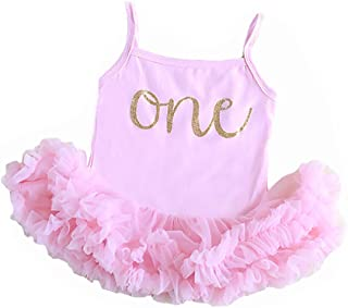 Baby Girl Pink First Birthday Outfit, Sparkly Gold one Ruffle Tutu Dress, Perfect for Baby's First Birthday