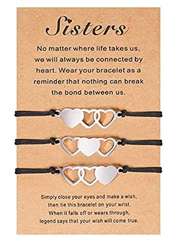 Promise Pulseras que combinan Amistad Relación Regalo a distancia del corazón, Pulsera de corazón para hermanas, Pulseras de hermana para 2/3/4, Pulsera trenzada ajustable (3 piezas)