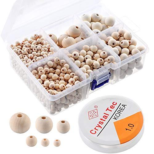 Litthing Runde Holzperlen Set mit Box für DIY Schmuck Herstellung Perlenweben Bastelperlen Zubehör 1105 Stück 6 Größen (6mm/8 mm/10mm/12mm/16mm/20mm)