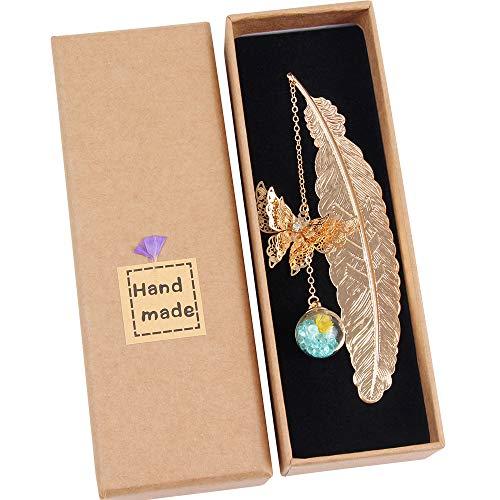 Marcapáginas de Plumas de Metal con Hermosos Mariposa 3D y Perlas de Vidrio Colgante de Flor Seca Eterna para Adultos, Niños y Estudiantes (azul)
