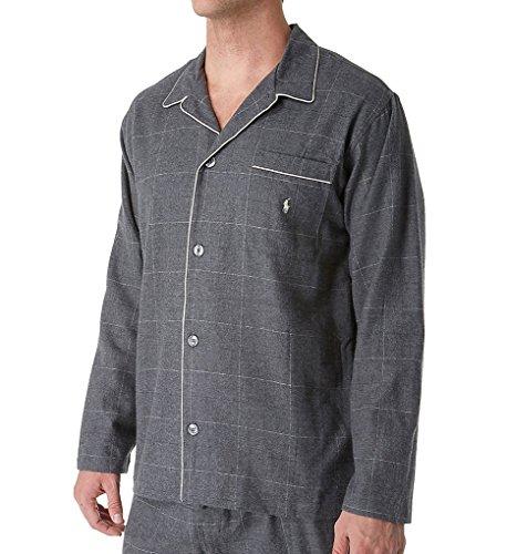 Polo Ralph Lauren Flannel Long Sleeve Pajama Top (P656) L/Charcoal Cream
