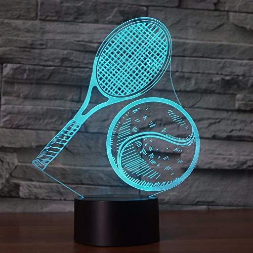 (Nur 1) Tennis spielen 3D 7 Farbe LED Nachtlampen für Kinder Touch Led USB Tisch Lampara Lampe Baby Sleeping Nightlight Drop Ship