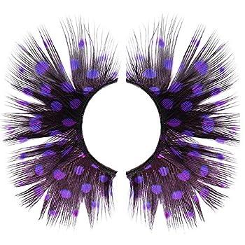 Dorisue Anime lashes Purple Eyelashes Sexy Purple colored Eyelashes Shiny Long and Thick False Eyelashes Extension for Women Girls Cosplay Costume lashes Mermaid Party eyelashes