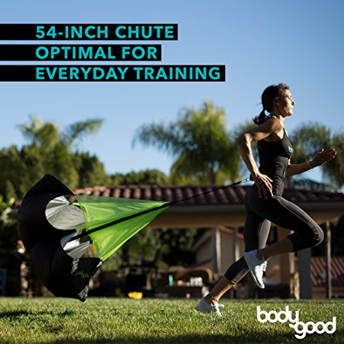 BodyGood Pro Grade Running Parachute. Performance Training at its Best with Ideal Sized 54 Inch Speed Chute - Achieve Explosive Speed and Agility for All Ages and Levels