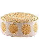 Mandala Life ART Gran Pouf Ottoman de Lujo - Pouffe Cuadrado XL - Escabel Puff...