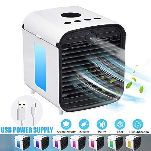 GNEGNI Mini Aires Acondicionados Móviles Enfriador Portátil Ventilador Purificador Humidificador 3 en 1 USB 7 Colores 3 Velocidades para Oficina Hogar Coche Sin Batería