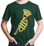Hariz - Camiseta para niño (incluye tarjeta de regalo), diseño de trompeta verde oscuro 6 años